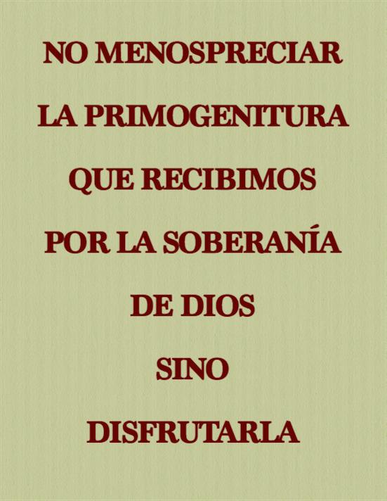 No menospreciar o perder la primogenitura que recibimos por la soberanía de Dios, sino disfrutarla