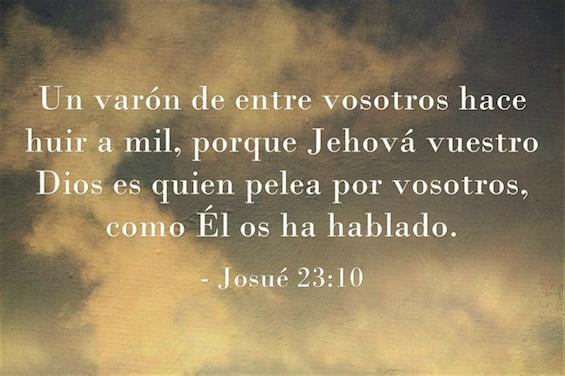 Josué 23:10 Un varón de entre vosotros hace huir a mil, porque Jehová vuestro Dios es quien pelea por vosotros, como Él os ha hablado.